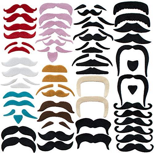 74 Stück Selbstklebende Schnurrbärte,Selbstklebende Schnurrbart Party Kostüm für Mexikanisches Kostüm,Cowboy,Piraten,Gefälschte Oberlippenbart Deko für Mottoparty,Bartparty,Weihnachten,Hochzeit
