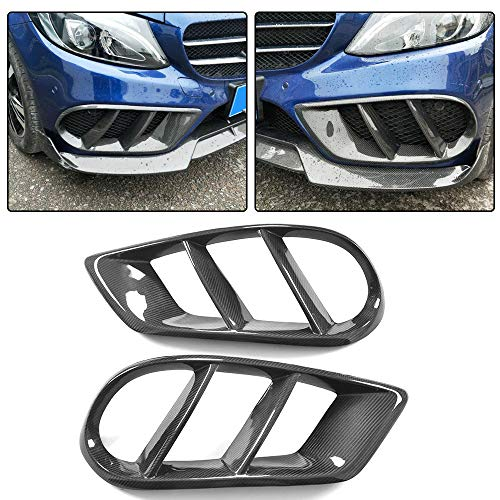 JC SPORTLINE W205 CF Fog Light Cover fits for Mercedes Benz C Class W205 C205 A205 Sport C180 C200 C250 C300 C400 C43 AMG 2D 4D 2015-2018 Carbon Fiber Fog Lamp Vent Trim Front Bumper Spoiler Splitters