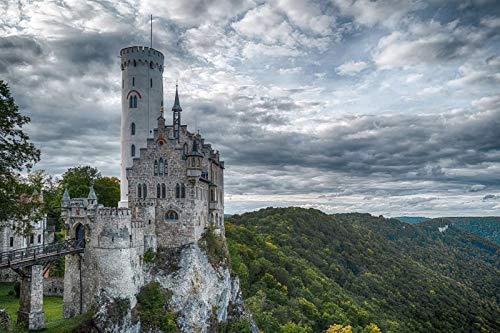 Rompecabezas para adultos, 1000 piezas, de madera, respetuoso con el medio ambiente, juego de rompecabezas desafiante para adolescentes - Castillo de Lichtenstein