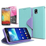 Mint / Lavender Samsung Galaxy Note 3 Wallet Case; Best Design with Coolest Premium [PU/Faux Leather] with Stand Feature and Magnetic Flap Closure; Functional Fashion Slim Wallet Case Cover for Galaxy Note 3 (Release Date); Supports Samsung Note 3 Devices From Verizon, AT&T, Sprint, and T-Mobile …
