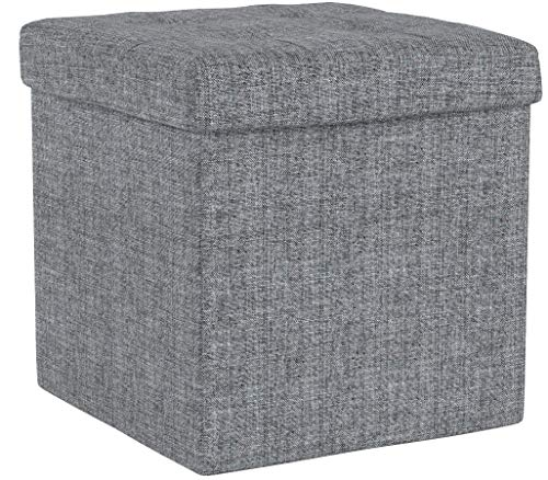 Relaxdays faltbarer Sitzhocker aus Leinen, grau, 38cm - 5