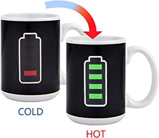 Magic Heat Color Changing Coffee Mug Battery Meter Funny Cup, Thermometer Sensitive Tea Coffee Cup, 100% Ceramic 15 OZ