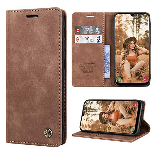 RuiPower Handyhülle für Samsung Galaxy A50 Hülle Premium Leder PU Flip Hülle Wallet Lederhülle Klapphülle Magnetisch Silikon Bumper Schutzhülle für Samsung Galaxy A50/ A30S/ A50S Tasche - Braun
