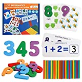 kizh Math Flash Cards,Math Manipulatives Flash Cards Wooden Number Matching Puzzle Cards and Counting Sticks Basic Addition and Subtraction Learning Montessori STEM Games for Kids Toddlers Age 3+