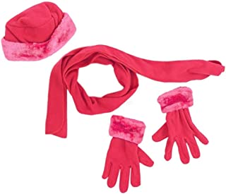 Holiday Special 2019 4 Piece Women's Hot Pink Fur Lined Hat Glove and Scarf Set