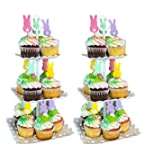 2 Pcs Set 3 Tier Dessert Stand Fruit Plate Cupcake Plastic White Cup Cakes Desserts Fruits Candy Buffet Serving Tray Food Display for Wedding Baby Shower Home Birthday Tea Party Decoration (Square)