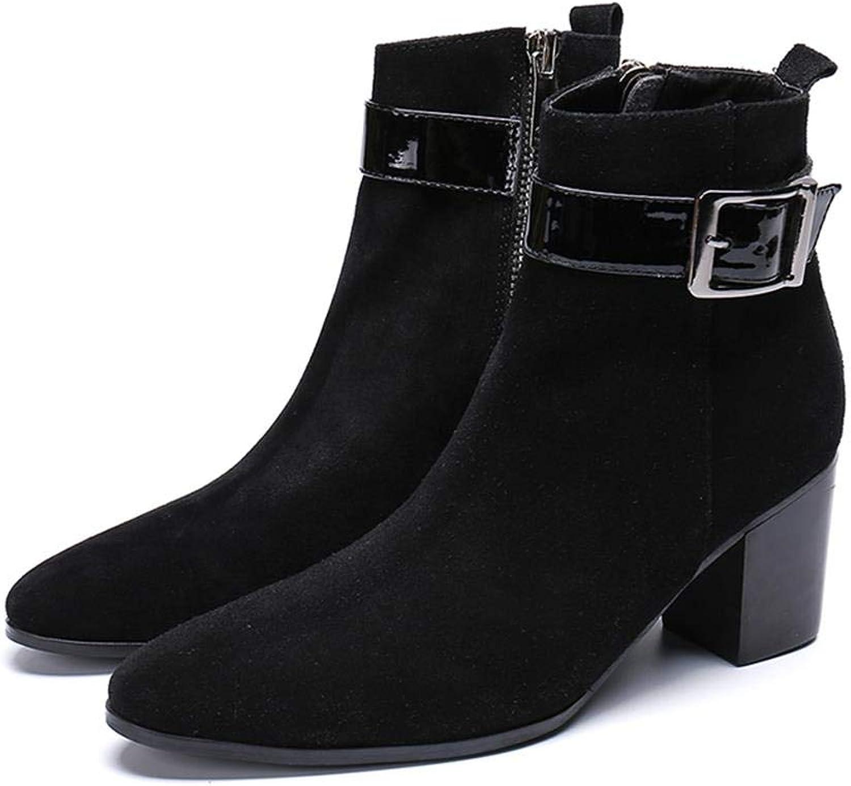 Mr.Zhang's Art Home Men's schuhe Schwarze Schuhe mit hohen Abstzen und hochhackigen Spitzen Stiefelies