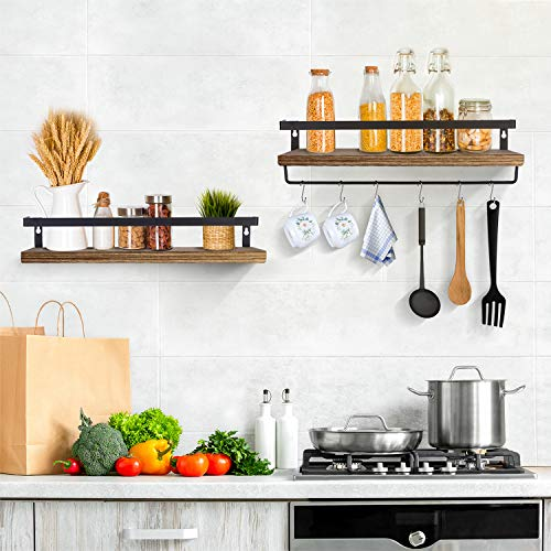 LEHOM Floating Shelves Wall Mounted Shelf, Rustic Wood Wall Storage Display Shelves Floating Shelving for Bathroom Bedrooms Kitchen Office Living Room with Towel Bar and 8 Hooks Set of 2…