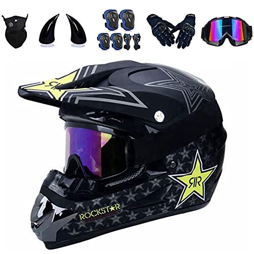 Casco completo para bicicleta de montaña para niños, Offroad Downhill Enduro, viene con 5 regalos, juego de casco de moto con gafas, rodilleras y coderas, casco integral de motocross (S 54-55 cm)