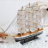 LVSSY-Mittelmeer-Stil Schiff Segelschiff Sammlerstück Kunstholz Modell Nautische Dekoration Geschenk Ornamente Merchant Marine -