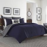 Eddie Bauer Home | Kingston Collection | 100% Cotton Soft and Cozy Premium Quality Duvet Cover with Matching Shams, 3-Piece Bedding Set, Plaid to Solid Reversible, Full, Navy