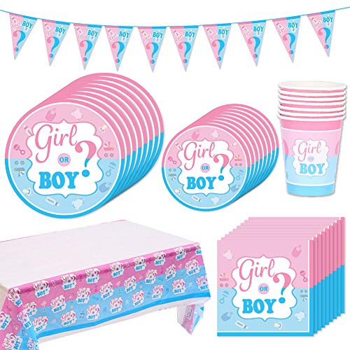 Baby Shower Decorazioni, BETOY 42 Pezzi Kit Baby Shower Gender Reveal Stoviglie Boy or Girl, Piatti, Tazze, Tovaglioli, Cucchiai, Tovaglie, Cannucce, Possono Ospitare 8 Persone