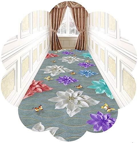 YUEDAI Diseño Floral Pasillo Corredor Alfombra, no Slip Entrada Puerta de Entrada Alfombra Perfecto for Hall Cocina Escalera (Color : Multi-Colored, Size : 80x400cm)
