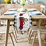 Table Runner Dresser Scarves Christmas Farm Truck with Cow Buffalo Black White Plaid Linen Table Runner for Farmhouse Dining Room Coffee Table Runner for Wedding Party Decor 13x70inch