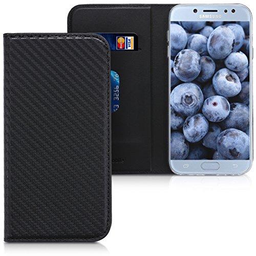 kwmobile Hülle kompatibel mit Samsung Galaxy J7 (2017) DUOS - Kunstleder Handy Schutzhülle - Flip Cover Hülle - Carbon Schwarz