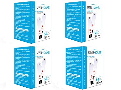 ONE-CARE 200 count Blood Glucose Test Strips, Precision Sugar Measurement for Diabetics, Monitor Your Diabetes (4 boxes of 50 each)