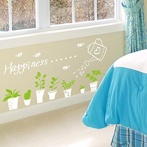 Maize store Kicking Line Sticker Mural PVC Autocollant Imperméable Blanc Petit Autocollant Mural en Pot Été Frais Taille De Bricolage 80 * 40