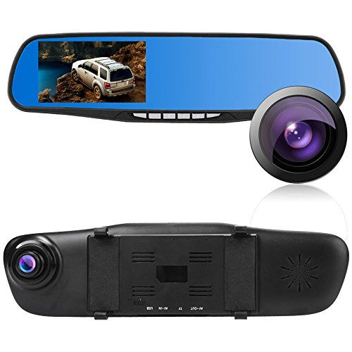Cosway Full HD 1080P DVR Vehicles Dash Cam 4.3 Inch LCD Car Video Camera Recorder with Dual Lens for Vehicles Front & Rearview Mirror and Night Vision, US Stock