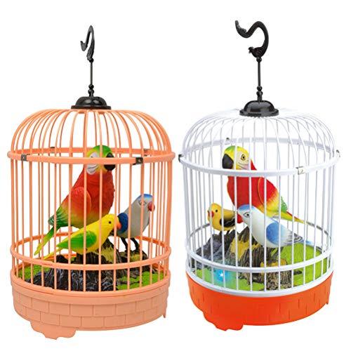 STOBOK Digi Bird Papagei Singendes Vogel im Käfig Elektronische Haustier Kinder Spielzeug Geschenk (Zufällige Farbe)
