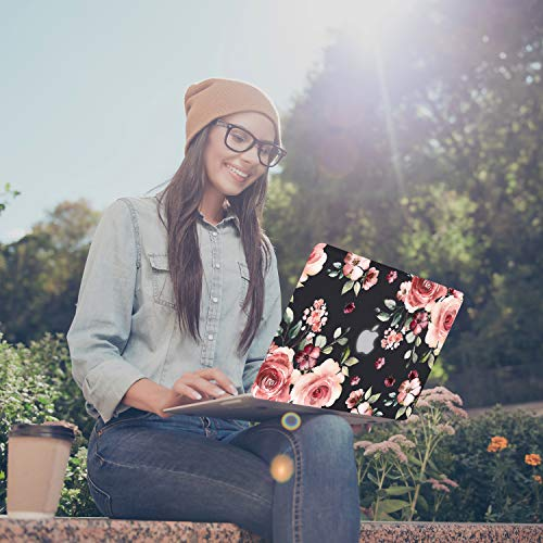 iDonzon Case for MacBook Air 13 inch M1 A2337 A2179 A1932 2020 2019 2018 Release, 3D Effect Matte Black See Through Hard Cover Compatible Mac Air 13.3 inch with Retina Display Touch ID - Peach Flowers