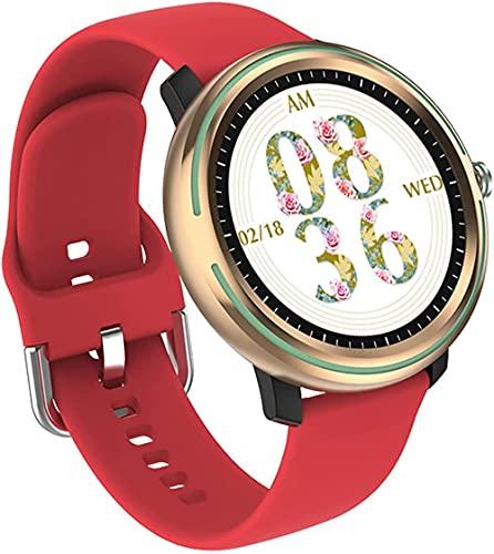 Relojes inteligentes 1.3 pulgadas pantalla táctil completa IP67 impermeable podómetro reloj con monitor de sueño reloj inteligente para hombres mujeres-rojo plástico