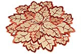 Tischdecken Espamira Klassische Vanille Creme Blatt Blätter Terracotta Weinrot Gestickt Blätterdeckchen Läufer Herbst (Deckchen rund 30 cm)