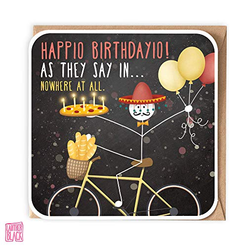 Happio Birthdayio, lustige Geburtstagskarte, Pizza-Karte, Fahrrad-Karte, generische ausländische Karte