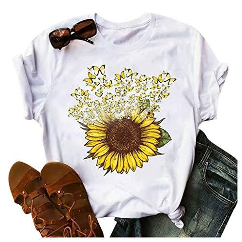 KUDICO T Shirt Damen Sommer Süß Kurzarm Rundhals Sonnenblumen Druck Tunika Tops Frauen Lässige Lose Oberteil Bluse Tee(Weiß02,S)