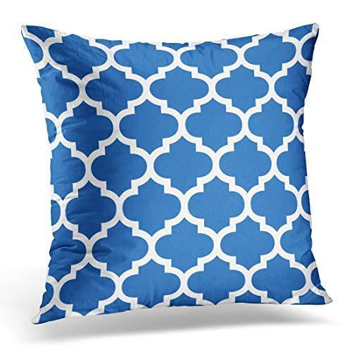 no branded Colorful Garden Cobalt Blue Quatrefoil Patio Throw Pillow Case Cushion Cover Home Decoration for Sofa Car 18' x 18' Lovely Gift for Girls/Boys/Women/Men Pillow Cover