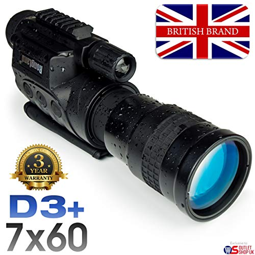 Rongland NV760D3+ Professional Digital Night Vision Device - 3 Year Warranty. UK Brand. Rechargeable. Image Quality of Gen. 2, Day & Night Operation, Auto IR, Photo, Video, Video Out, 7x60mm - D3+