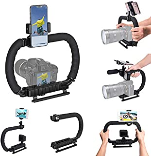 DSLR /Mirrorless / Action Camera Camcorder Phone Stabilizer 3-Shoe 2-handed Vlog Video Holder Rig Low Position Shooting Steadycam Mount Detachable Grip Fit for GoPro Sony Canon Nikon DV iPhone Samsung