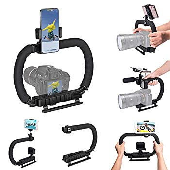 DSLR /Mirrorless/Action Camera Camcorder Phone Stabilizer 3-Shoe 2-Handed Vlog Video Holder Rig Low Position Shooting Steadycam Mount Detachable Grip Compatible with GoPro Sony DV iPhone Samsung