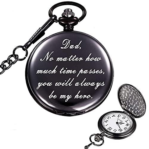 1 reloj de bolsillo vintage para hombre, broche de reloj, reloj de bolsillo con palabras grabadas y cadena larga, perfecto para regalo del día del padre, suministros diarios