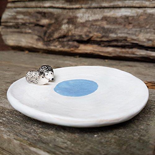 Hedgehog ceramic jewelry dish, pottery trinket dish, white ring dish with hedgehog figurine, earring dish, tea bag rest, catchall