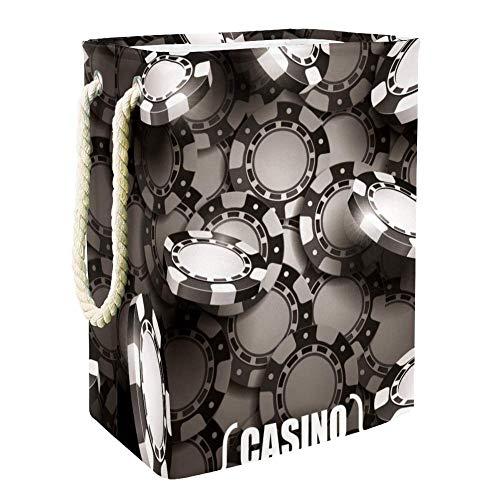 MUOOUM Casino Chips Panier à linge pliable étanche de grande taille 49 cm avec poignées pour chambre d'enfant, rangement de la maison, chambre d'enfant, panier pour bébé