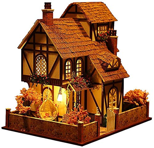 Architecture Model Building Kits with Furniture LED Music Box Miniature Wooden Dollhouse Flower Town Series 3D Puzzle Challenge
