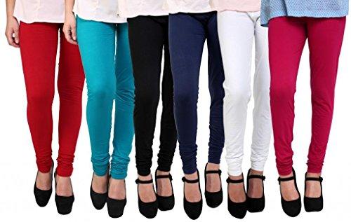 Anekaant Women's Cotton Lycra's Chudidar (Pack of 6) Free Size Red, Blue, Black, White, Orange