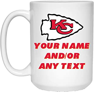 Custom Personalized Kansas City Chiefs Coffee Mug Chiefs Logo Mug 15 oz White Ceramic Coffee Cup Great for Tea and Hot Chocolate NFL AFC Football Perfect Gift for any Chiefs Fan
