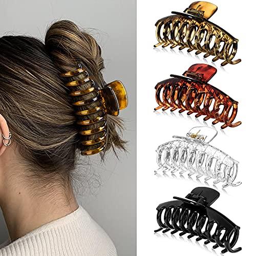 4 Stück Haarklammern Groß, Kunststoff Klaue Clips Damen, für Dickes Haar Rutschfest Haarspangen, Pferdeschwanz-Halter, Vintage Haar-Accessoires Frauen Mädchen