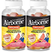 2-Pack Airborne Vitamin C Fruit Flavored Gummies 63-Count Bottle (126-Count Total)