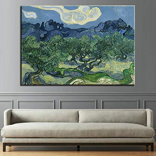 wZUN Pintura en Lienzo Mural HD Impresión Impresionismo Imagen Olivo en la montaña Póster Decoración para Sala de Estar 50x70cm Sin Marco