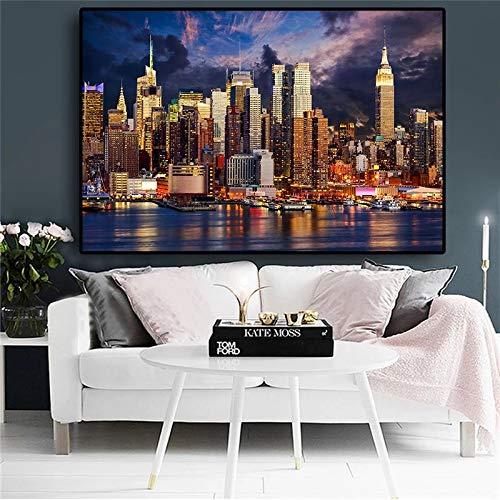 UIOLK Pintura de decoración Nocturna de la Ciudad, Nubes al Atardecer, Ciudad de Nueva York,...
