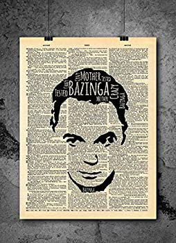 Big Bang Theory Sheldon Quote Vintage Art - Bazinga - Authentic Upcycled Dictionary Art Print - Home or Office Decor - No Frame