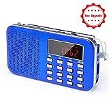 PRUNUS L-218AM Mini-Radio Portable Ultra-Fine AM(MW)/FM MP3 Micro SD AUX USB, Batterie Amovible Rechargeable 1200MAH...