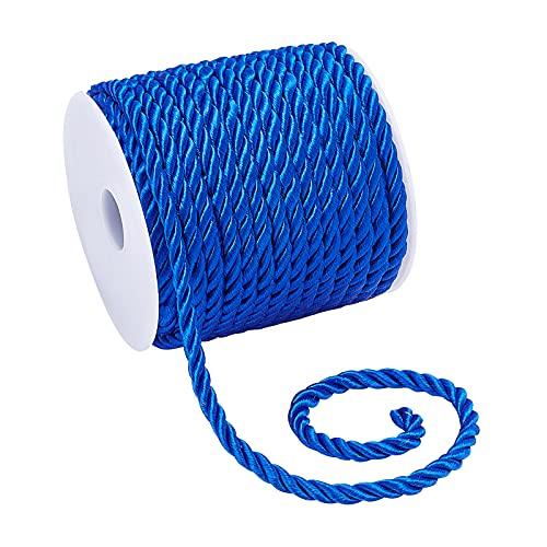 PandaHall Cuerda trenzada decorativa de 5 mm, cuerda de poliéster azul, hilo de cuerda de cuerda brillante, para decoración del hogar, tapicería, alzapaños de cortina, cordón de honor, 18 mm/19 yardas