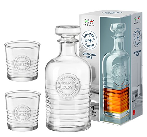 Bormioli Rocco Set Officina whisky-karaf 100 cl + 2 whiskyglazen à 30 cl, exclusieve cadeauset, sterke drank set, gemaakt van robuust glas, transparant