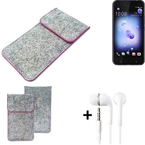K-S-Trade Filz Schutz Hülle Für HTC U11 Dual-SIM Schutzhülle Filztasche Pouch Tasche Hülle Sleeve Handyhülle Filzhülle Hellgrau Pinker Rand + Kopfhörer