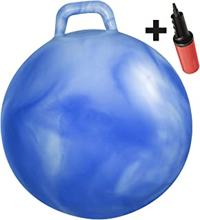 WALIKI Toys Hopper Ball for Kids Ages 3-6 (Hippity Hop Ball,  Hopping Ball,  Bouncy Ball with Handles,  Sit & Bounce,  Kangaroo Bouncer,  Jumping Ball,  18 Inches,  Hurricane Blue,  Pump Included)