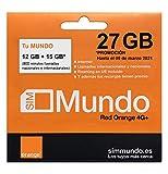 Orange - Tarjeta SIM Prepago (Tu Mundo) 27 GB en España | 800 Minutos Nacionales e internacionales | 8,5 GB Roaming en Europa | Activación Online | Velocidad 4G