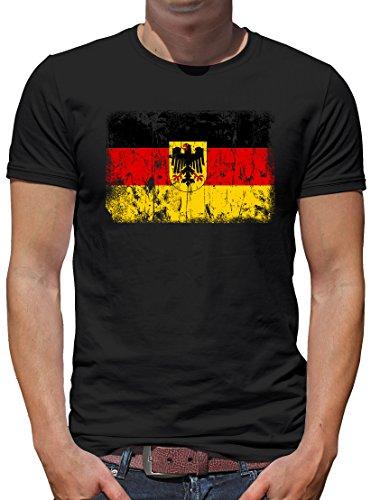 TShirt-People Deutschland BRD Vintage Flagge Fahne T-Shirt Herren M Schwarz
